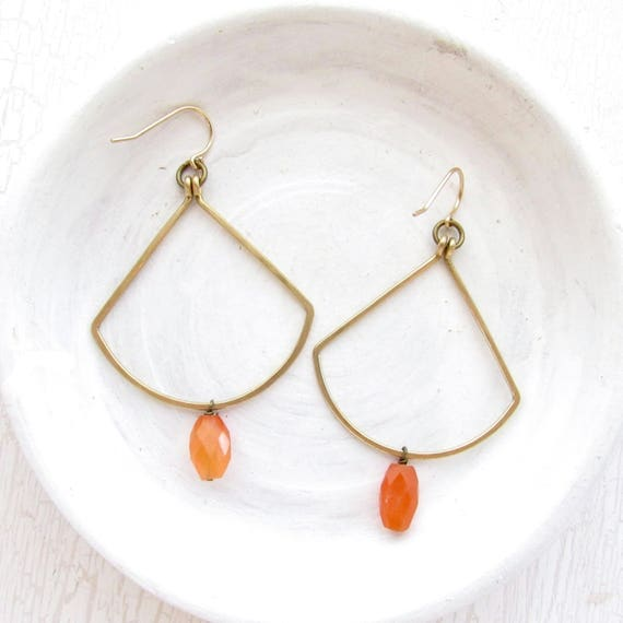 WHOLESALE LISTING // Carnelian Fan Earrings // ECF