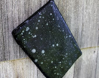 silver space soft black leather clutch
