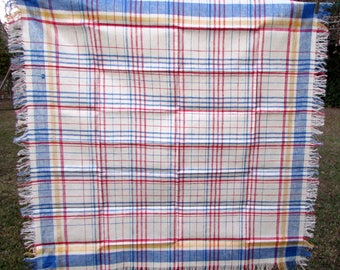 Vintage Linen Tablecloth - Plaid Tablecloth - Woven Pure Linen Flax - Fringe - New Old Stock - square tablecloth