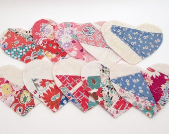 10 Cutter Quilt Hearts - Pink - Patchwork Hearts - Vintage Quilt Hearts - Shabby - Primitive - Valentine's Day craft