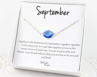 September Birthstone Silver Necklace, Sapphire Birthstone Silver Necklace, September Birthstone Jewelry, Gifts Under 20