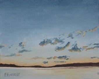 "Art Small Landscape Oil Painting Impressionist Original Skyscape  Minimalist Sky Zen By Fournier quebec Canada "" Gliding Clouds "" 8"" x 10"""
