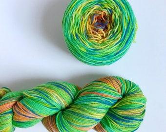 Hand-dyed yarn, Indie dyed yarn, hand dyed yarn FRUIT PUNCH GRADIENT --ready to ship-- Staten Island Ferry merino nylon sock yarn