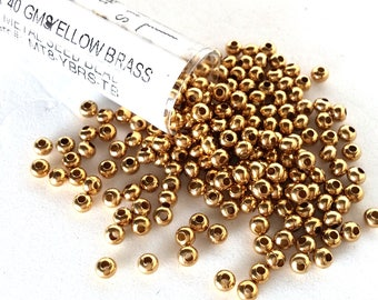 Yellow Brass Size 8 Metal Seed Bead Approx 40 grams