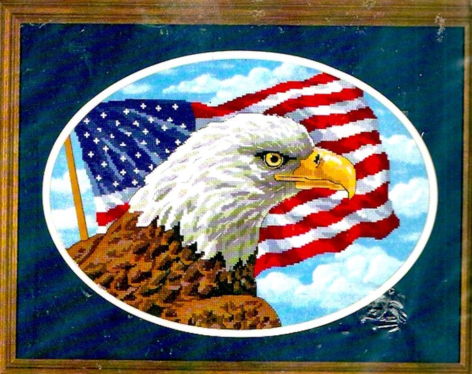 Freedom Eagle kit No count cross stitch Peter Kull design Eagle US Flag Dimensions 39018 Needlework Unopened Finished size 14 X 10 Oval
