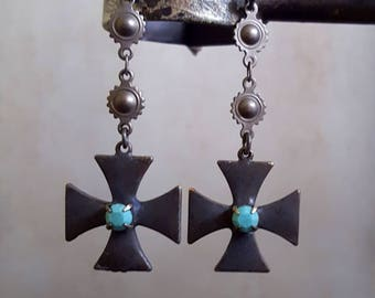 Turquoise Cross Earrings, Maltese Cross, Old World, Black Cross, Long Dangle Cross, Unique Artisan Jewelry, Rustic Chic French Antique Style