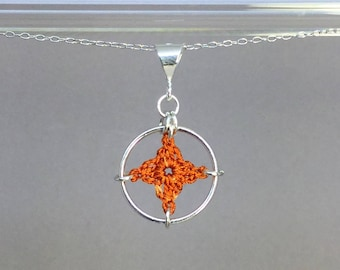 Spangles, orange silk necklace, sterling silver