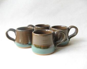 Stoneware Espresso Cups Set of 4, Pottery Demitasse Set of 4,