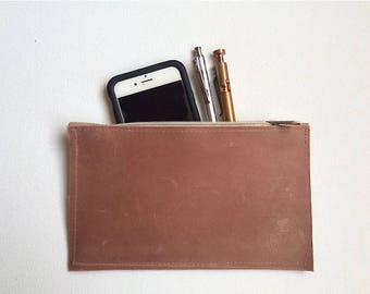 Leather Zipper Pouch in Blush