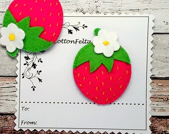 Hot Pink Strawberry hair clip, pink strawberry barrette, pink strawberry, pink strawberry hair slide,strawberry hair grips, Single/Pairs