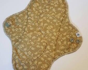 Mama Cloth Menstrual Pad / Cloth Pad ... 10 inch Neutral Printed Cotton FREE SHIPPING