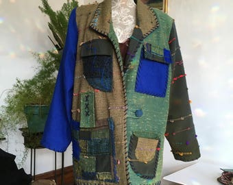 Handmade // Wool Boho Jacket // Size 14 // Made in Columbia // Pieced Jakcet // 80s