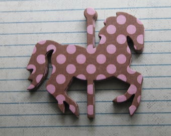 """8 Small Carousel HORSES Brown and Pink polka dot chipboard covered die cuts 3 1/8"""" x 2 7/8"""" [8sAC]"""