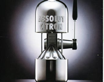 ABSOLUT SQUEEZE vintage vodka ad for Absolut Citron, copyright 1995, magazine back cover, advertisement, Distillery Advertisement fsb
