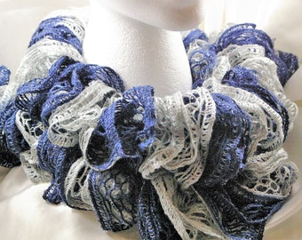 Hand knitted Royal Blue and Silver Christmas Ruffled Scarf with shining silver trim