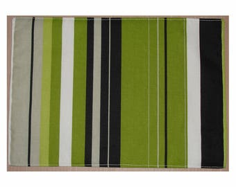 BARGAIN - End of Range Sale - Set of 4 Placemats Green Black Grey and White Stripes Placemat x Four