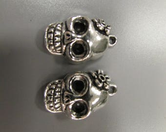 Sugar Skull Silver Tibetan Charm X 2