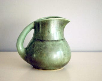 Shearwater Pottery Pitcher, 1940s Ceramic Pitcher, Antique Green Glaze, American Art Pottery, Fine Art Ceramics, Vintage Kitchen Decor