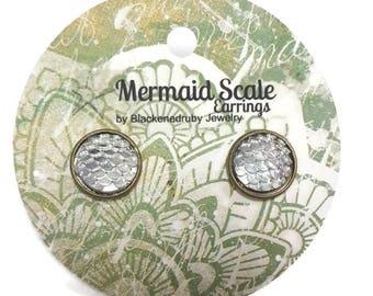 Mermaid Scale Earrings - Chrome