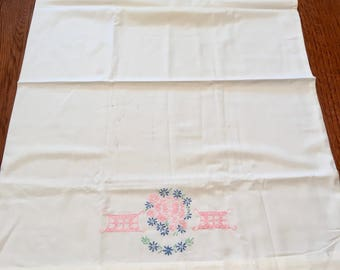 40s Embroidered Pillowcase