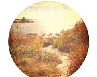 50% OFF SALE Rocky Beach Coastal Art Beach Home Decor Brown Orange Rust Landscape Photo - Round Image on an  8x10 inch Print -Beyond The Sho