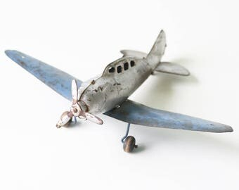 Vintage Metal Airplane, Toy Plane, Silver and Blue