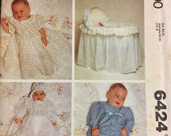 Sewing Pattern McCall's 6424 Infants' Christening Dress Crib Cover Size 3 months 12-15 pounds Uncut  Complete