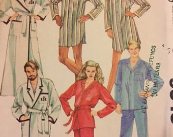 Vintage 1980's Pajamas and Robe Sewing Pattern  McCall's 9348 Misses' and Men Chest 36-38 Inches Complete Uncut