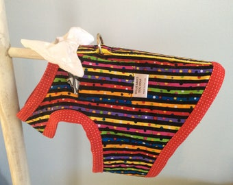 Party Girl Dog Harness--#843—Small Girl Dog—Cotton top and Flannel lined