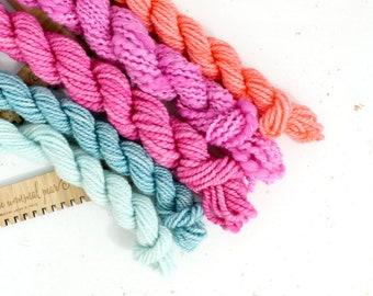 love bomb  ... handspun yarn set, weaving creative yarn bundle, hand spun, hand dyed yarn, handspun art yarn