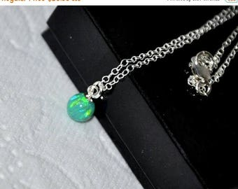 Ball Opal Necklace- sterling silver, Pendant Necklace, 6mm ball opal pendant,  Australian Opal, Opal Jewelry, Birthstone Necklace, chain