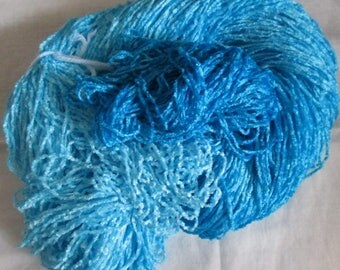 Handpainted Soft Rayon Chenille Yarn TURQUOISE FADE - 700 yards