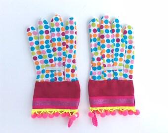 KIDS Designer Garden Gloves. Polka Dots, Glitter And Neon Pom Poms.  Childrenu0027s Gardening