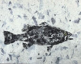 ORIGINAL Largemouth Bass GYOTAKU Fish Rubbing Cottage or lake house art Decor for the angler 18 X 12