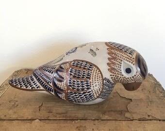 Vintage Santana Tonala Pottery Bird, Hand Painted Mexican Pottery, large decorated bird