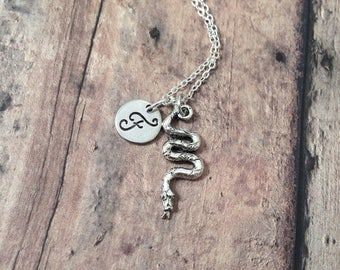 Snake initial necklace - snake jewelry, serpent necklace, reptile jewelry, silver snake necklace, serpent jewelry, reptile necklace