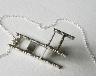 Sterling Silver Lucky Wishing Chair Charm Necklace