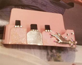 Nail Tech/ Business Card Holder/Pink And Silver