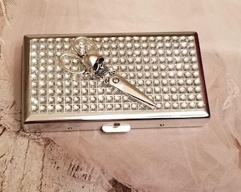 HairStylist Skull Scissors Bling Rhinestone -Cigarette Case/Business Card Holder