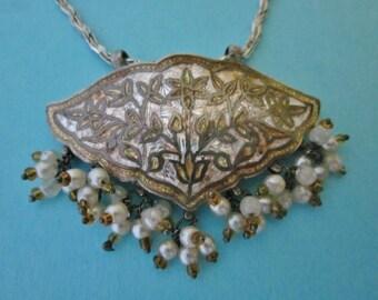 Vintage Guilloche Enamel  Pendant on Sterling Silver Chain