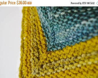 First Fall Sale - 15% Off Colorblock Kerchief Cowl - Aguas Blues and Mustard Yellows--Button Cowl Triangle Scarf Mini Scarf Spring Feverish