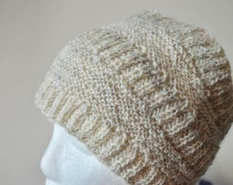 Handknit Handspun Shetland Wool Headband - Textured Minimally Processed Warm Cream and Grey Headband/Headwrap. Rustic Fall & Winter Fashion