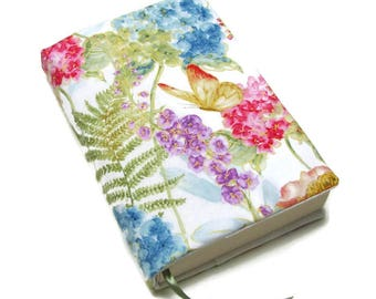 Book cover, TRADE SIZE paperback book cover,  book protector, cotton, padded cover, ribbon bookmark,  Rainbow Seeds
