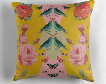 Decorative pillow- yellow-pink roses-nature-birds-digital collage-femine home decor-flowers-pretty livingroom decor-farm house chic