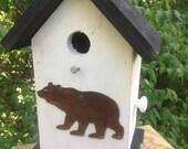 Primitive Birdhouse Rusty Metal Bear Cutout
