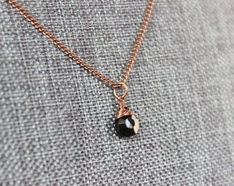 Black Spinel Antique Copper Necklace