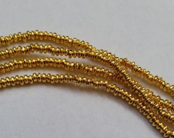 SHOP SALE 3mm Rounded Saucer Gold Vermeil over Sterling Silver Shiny Rondelle Spacer Beads (50 beads)