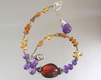 Purple Gemstone Beaded Bracelet, Glossy Spessartite Pebble, Everyday Bracelet, Golden Sapphire, Amethyst, Layering Bracelet, Rainbow Wraps