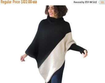 20% WINTER SALE Stylish Two ColorS Hand Knitted Poncho with Accordion Neck Plus Size Over Size Tunic by Afra