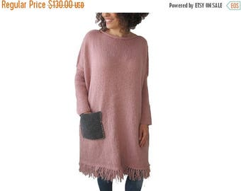 20% WINTER SALE Powder Pink Hand Knitted Dress with Gray Pocket